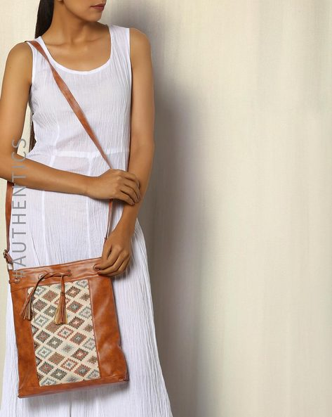 Handwoven Ikat Vegan Leather Sling Bag By A BIG INDIAN STORY ( Tan )