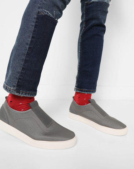 Slip-On Sneakers With Reinforced Heel Collar By AJIO ( Grey )