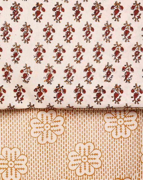 Bagru Handblock Print Cotton 3-Piece Dress Material By Indie Picks ( Yellow )