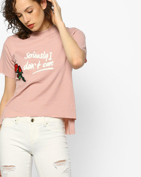 High-Low Top With Applique By RIO ( Pink )