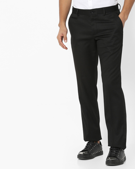 Slim Fit Flat-Front Trousers By NETWORK ( Black )
