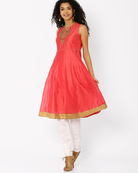 Chanderi Kurta With Hand Embroidery By AJIO ( Red )