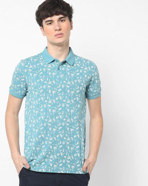 Tropical Print Polo T-shirt By AJIO ( Blue )