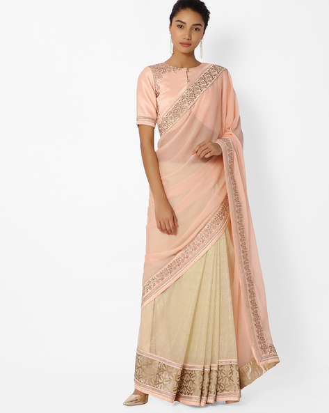 Net Saree With Embellishments By Mahotsav ( Peach )