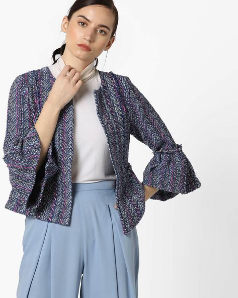 Patterned-Knit Front-Open Blazer By Only ( Ltblue )