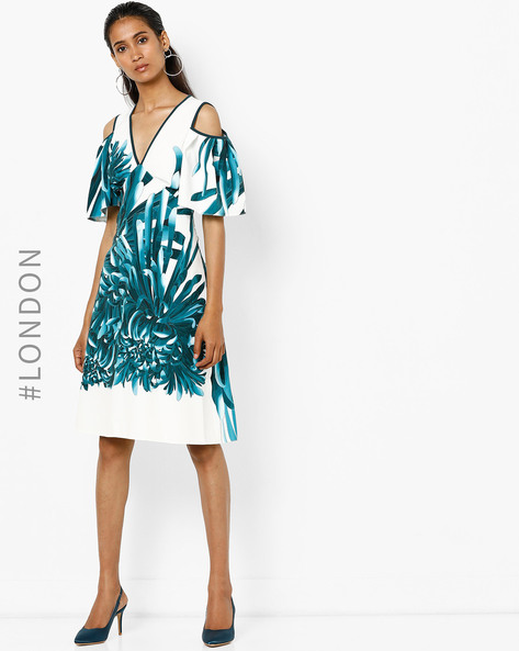 Printed Dress With Ruffled Cold-Shoulder Sleeves By Closet London ( Multi )