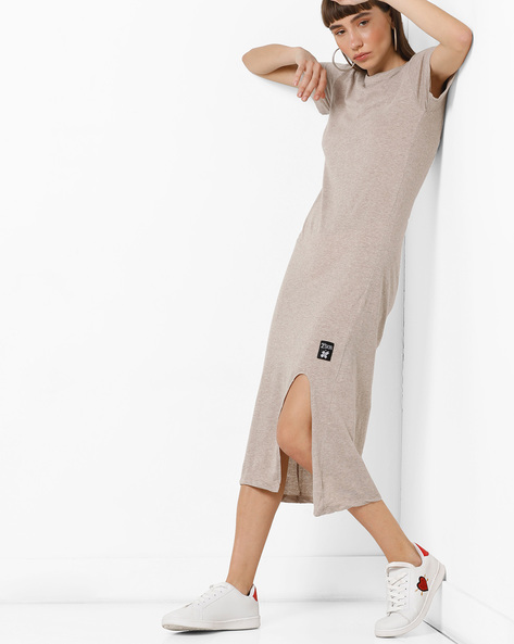 Midi Dress With Front Slit By KULTPRIT ( Grey )