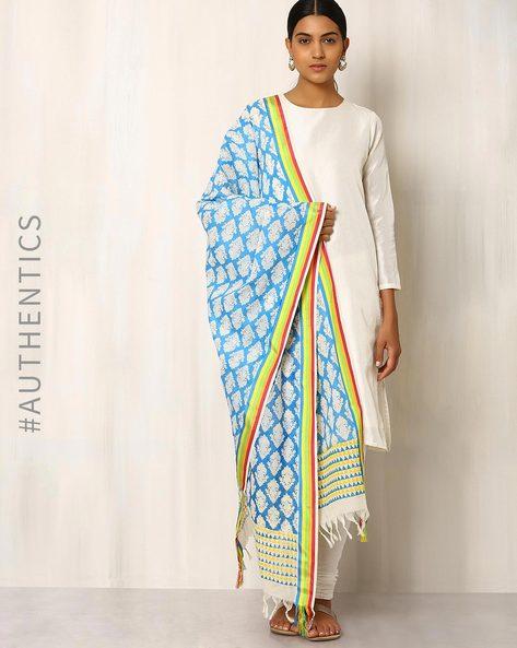Printed Handwoven Cotton Dupatta By Indie Picks ( Blue )