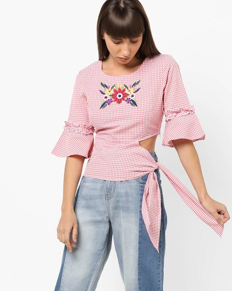 Gingham Check Top With Floral Embroidery By AJIO ( Red )
