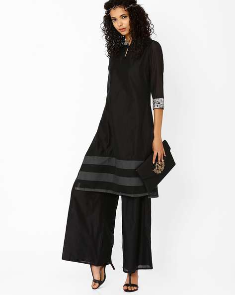 Kurta With Keyhole Detail By AJIO ( Black )