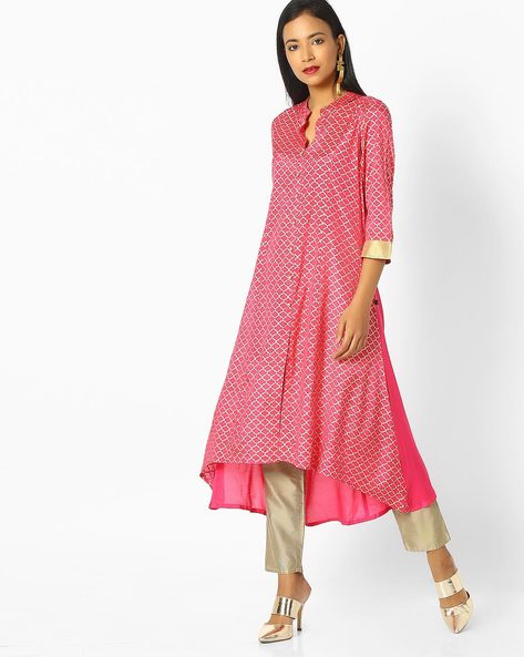Flared Kurta With Button Placket By AVAASA MIX N' MATCH ( Pink )