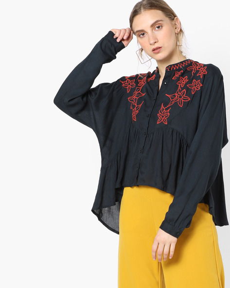 Embroidered Top With Ruffles By Rena Love ( Navyblue )