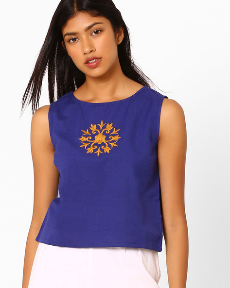Sleeveless Crop Top With Embroidery By AJIO ( Indigo )