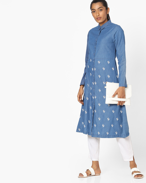 Shirt Kurta With Cactus Embroidery By AJIO ( Darkblue )