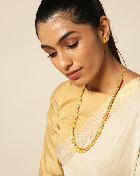 Goddess Lakshmi Coin Long Necklace Set By Spargz ( Gold )