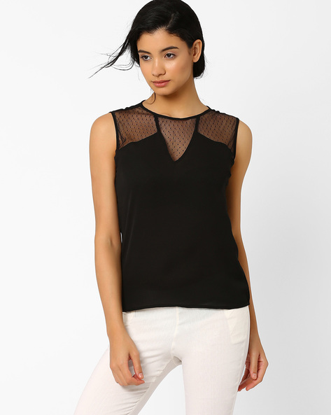 Sleeveless Top With Mesh Panels By ANONYMOUS CO ( Black )