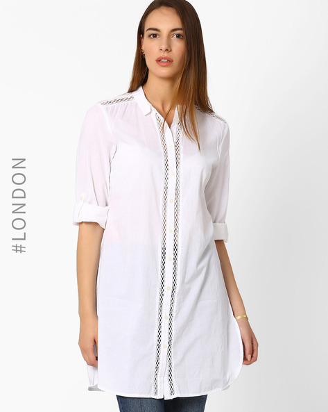 Pure Cotton Insert Shirt Dress By Marks & Spencer ( White )