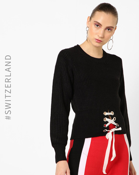 Corset Jumper With Lattice Tie-Up By TALLY WEiJL ( Black )