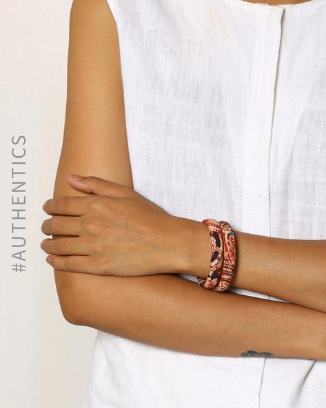 Kalamkari Handblock Print Cotton Paired Bangles By Indie Picks ( Multi )