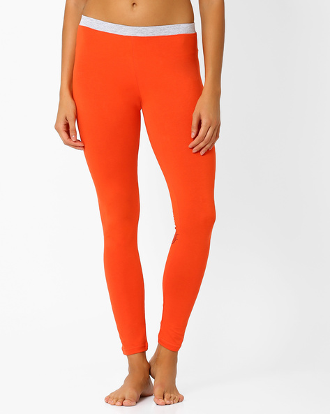 Ankle-Length Leggings With Contrast Waistband By AJIO ( Orange )