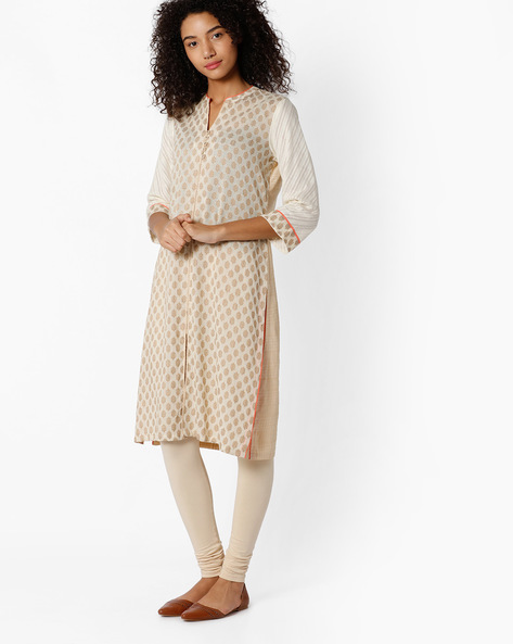 Printed Kurta With Mandarin Collar By Rangriti ( Offwhite )