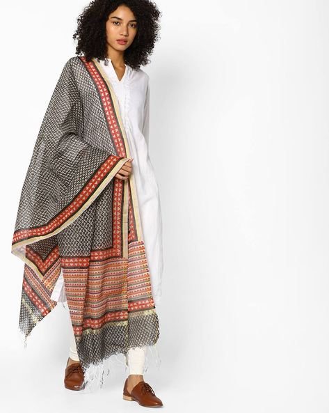 Printed Dupatta With Tassels By Melange By Lifestyle ( Black )
