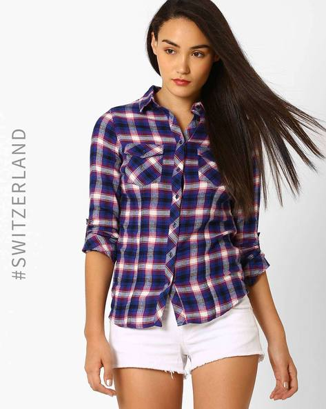 Checked Shirt With Flap Pockets By TALLY WEiJL ( Blue )