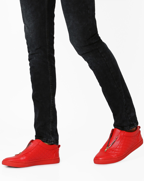Quilt-Stitch Sneakers With Zip Fastening By AJIO ( Red )