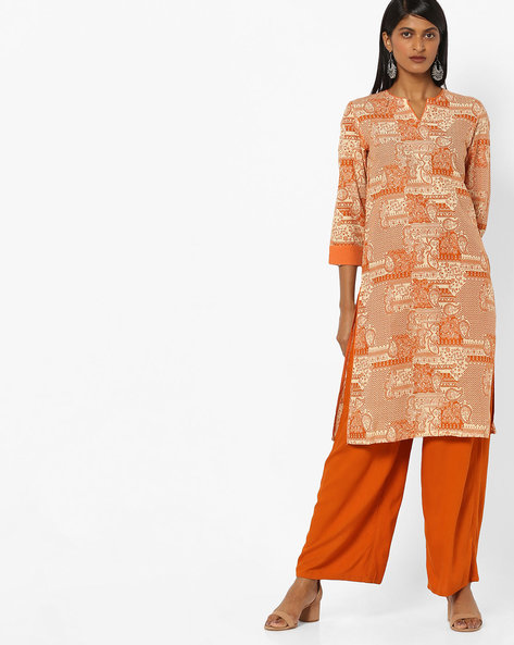All-Over Print Straight Kurta By AJIO ( Mustard )