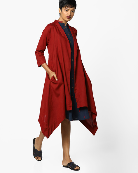 Open-Front Jacket With Waterfall Hem By PE IW Casual ( Maroon )