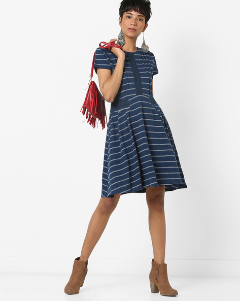 Striped Fit & Flare Dress With Lace Inserts By AJIO ( Navy )