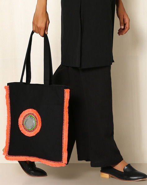 Canvas Handbag With Fringe Trim By Indie Picks ( Black )