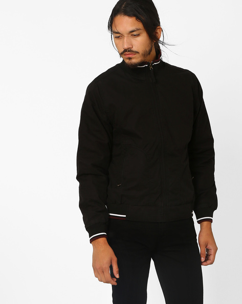 Regular Fit Jacket With Band Collar By JOHN PLAYERS ( Black )