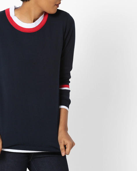 Crew-Neck Pullover With Ribbed Hems By Teamspirit ( Navy )