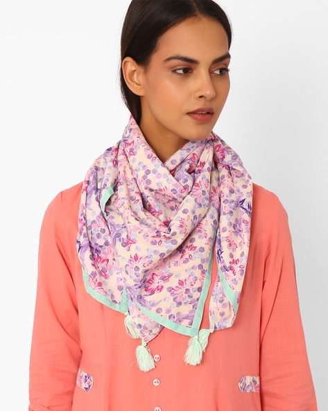 Floral Print Stole With Tassels By AJIO ( Offwhite )