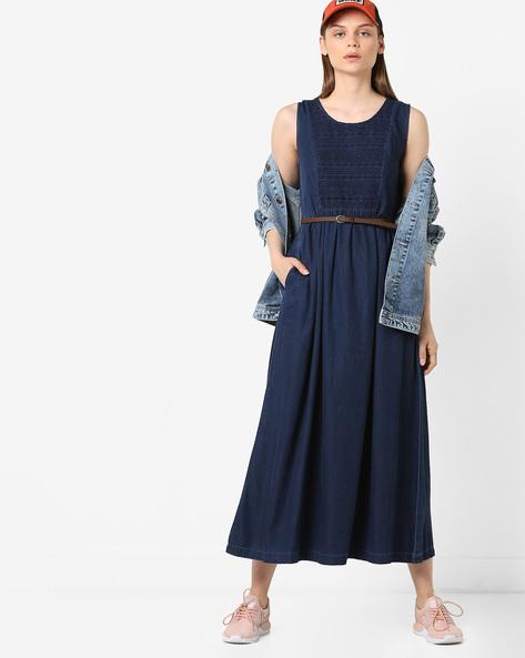 Embroidered Denim Maxi Dress With Pocket By Project Eve WW Denim ( Darkblue )