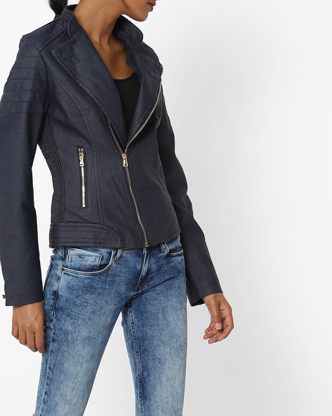 Open-Front Biker Jacket By The Indian Garage Co ( Navyblue )