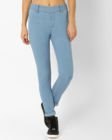 Woven Ankle-Length Jeggings By And ( Blue )