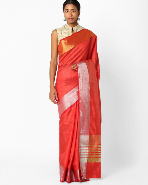 Saree With Thick Zari Border By Amori ( Red )