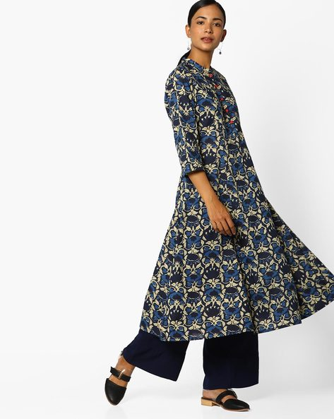 Printed Anarkali Kurta With Mandarin Collar By AJIO ( Indigo )