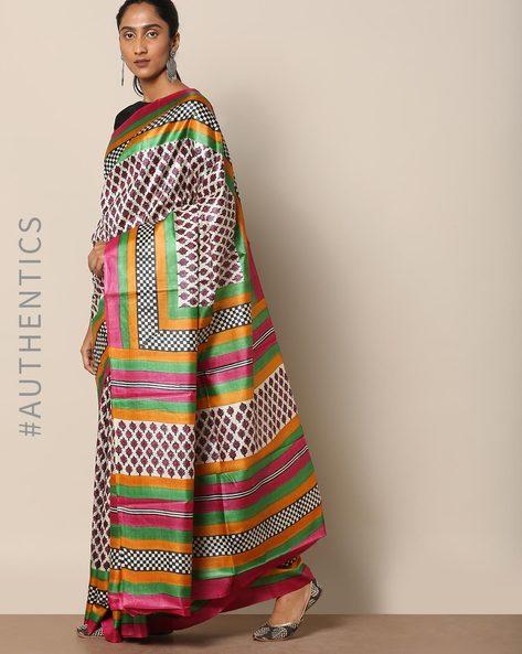 Handloom Pure Silk Tussar Printed Saree By Indie Picks ( Multi ) - 460146994001