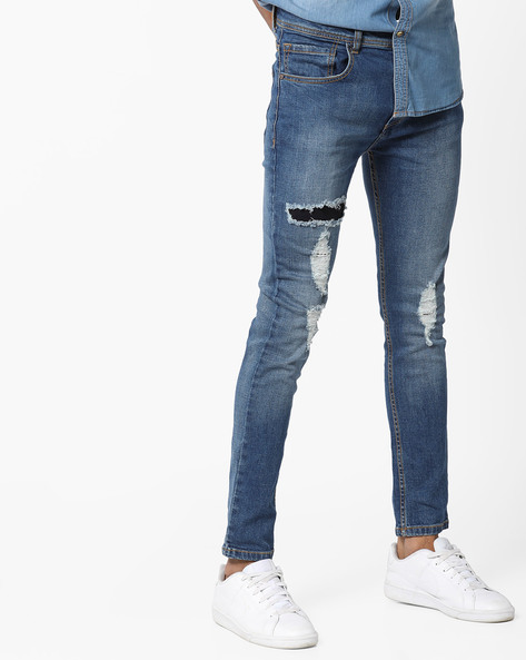 Mid-Rise Washed Distressed Jeans By ADAMO LONDON ( Blue )
