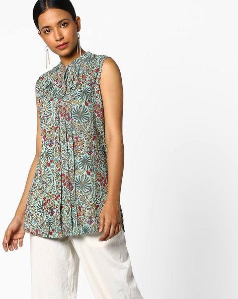 Floral Printed Sleeveless Tunic By Omya ( Green )