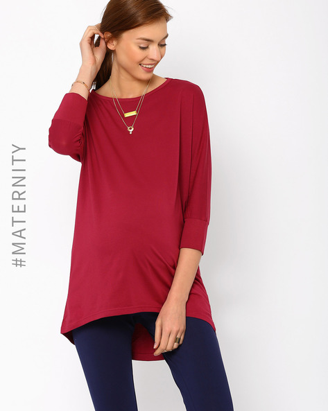 High-Low Maternity Top By AJIO ( Maroon )