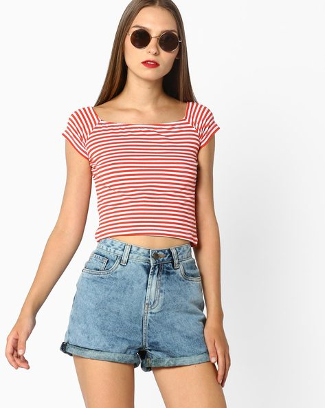 Stripped Crop Top By AJIO ( Red )