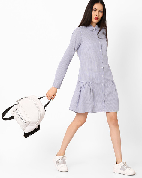 Striped Button Down Dress By AJIO ( Blue )