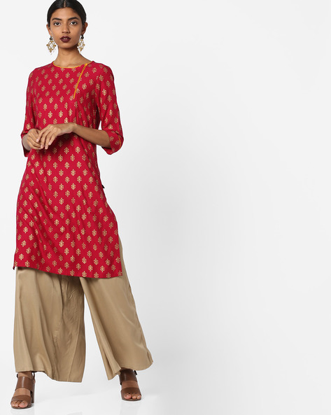 All-Over Print Straight Kurta By Juniper ( Magenta )