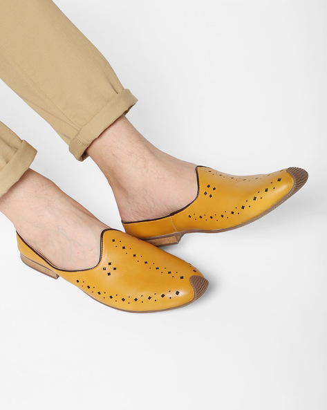 Nagra Slip-Ons With Perforated Upper By AJIO ( Mustard )
