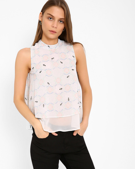 Printed Layered Top By Oxolloxo ( White )