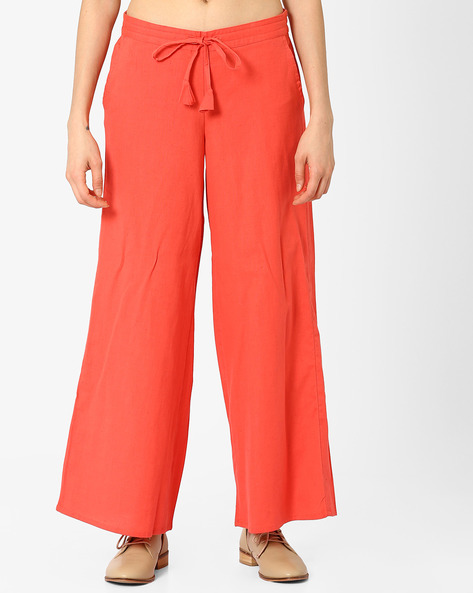 Palazzo Pants With Drawstring Waist By AJIO ( Coral )